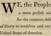 Detail from the Preamble of the US Constitution printed in Philadelphia on September 17, 1787. (Gilder Lehrman Collection)