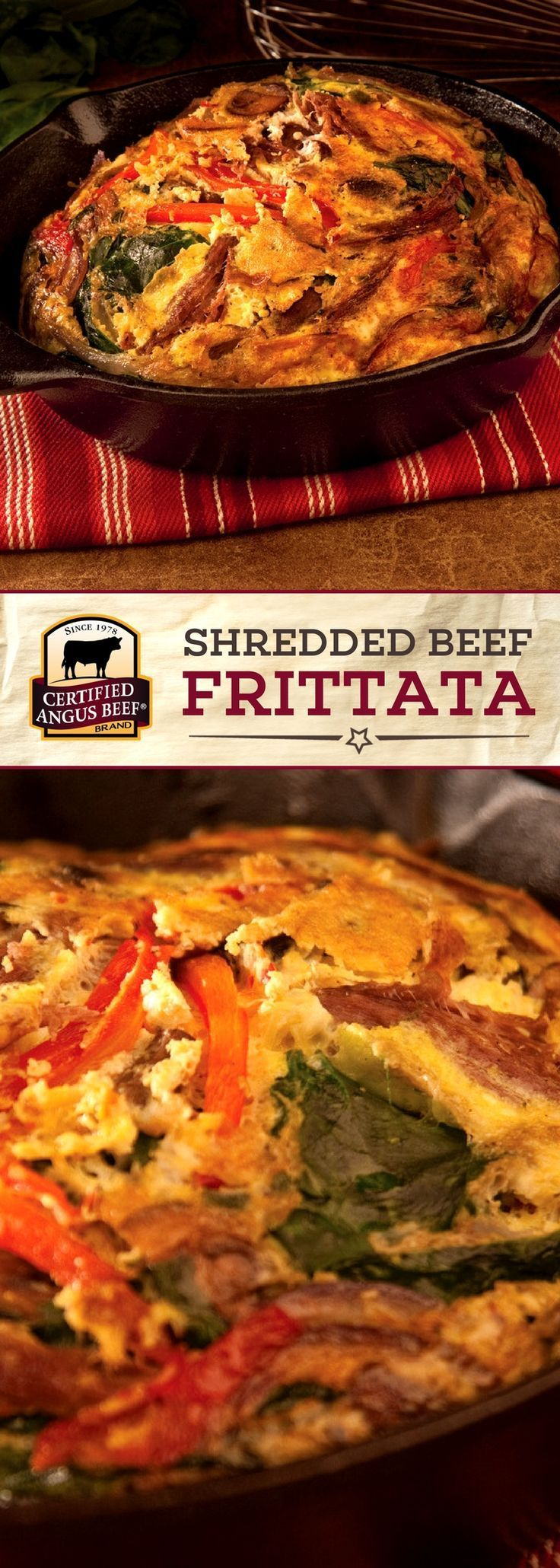 Certified Angus Beef®️️️️️️️ brand Shredded Beef Frittata is an EASY recipe that makes an impressive breakfast or dinner! Eggs, peppers, and goat cheese mix together deliciously with mushrooms, spinach, and the BEST pot roast for a satisfying meal.  #bestangusbeef #certifiedangusbeef #beefrecipe #easyrecipes #breakfastrecipes