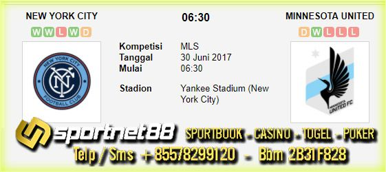 Prediksi Skor Bola New York City vs Minnesota United 30 Jun 2017 MLS di Yankee Stadium (New York City) pada hari Jumat jam 06:30 live di beIn Sport 2