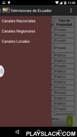 """Televisiones De Ecuador  Android App - playslack.com ,  Con esta app podras ver la LISTA de todos las televisiones que emiten en Ecuador.Esta app pretende ser una referencia para los amantes de la Television ecuatoriana.Descubre que canales emiten por la Television Digital Terrestre, o cuantos canales de pago o por cable o satelite existen.En esta lista aparecen canales como """"Ecuavisa"""", """"Teleamazonas"""", """"Cable Deportes"""", """"Ecuavista Telenovelas"""", """"RTS"""" o """"Telerama"""".Además podrás saber en que…"""