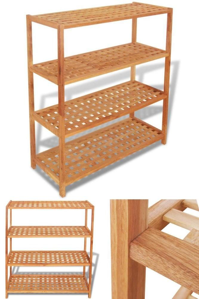 Wooden Shoe Organiser 4 Tier Shelves Shoes Storage Unit Hallway Stackable Design