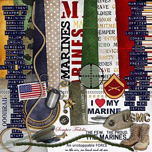 US Marines Scrapbook Kit  Semper Fi a digital by CGEssentials