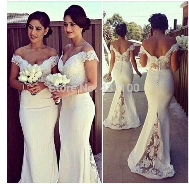 Vintage Inspired Bridesmaid Dresses Plus Size Lace Bridesmaid Dresses Long Off The Shoulder Vintage 2015 With Short Sleeves Wedding Party Dresses Mermaid Cream Bridesmaid Dresses Yellow From Bridalmuse, $90.06| Dhgate.Com