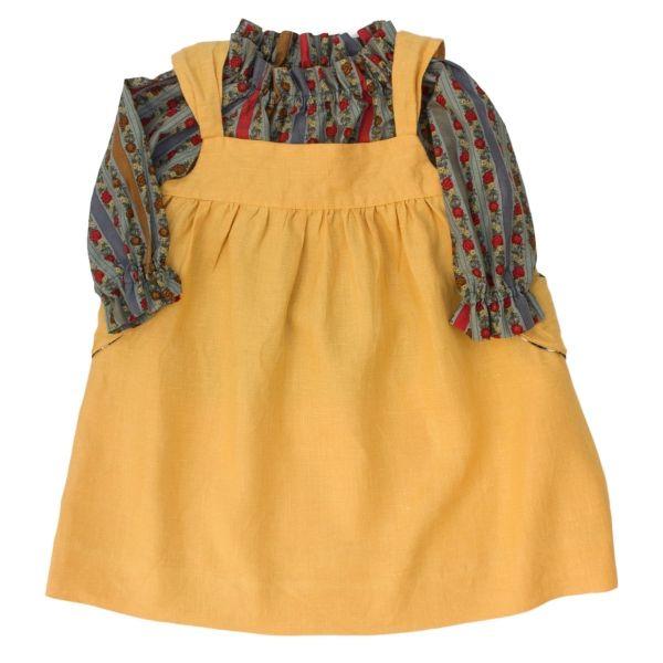 Mákvirág — Pinafore dress yellow and floral print