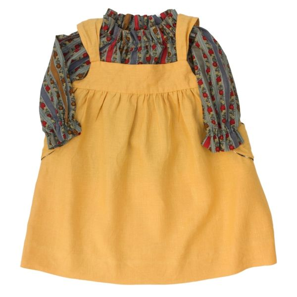 Mákvirág — Pinafore dress yellow and floral print