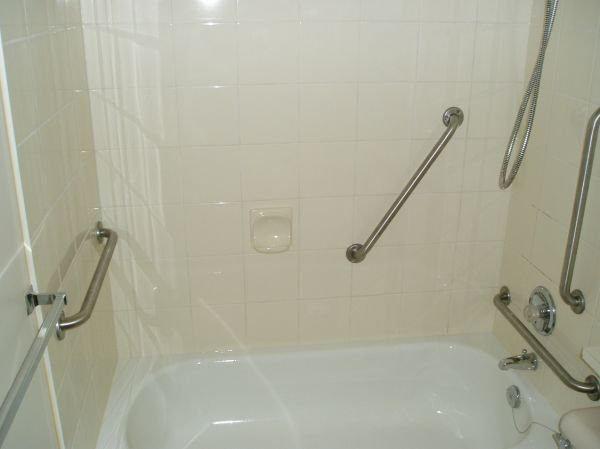 Angled grab bars sloped grab bars placement of shower grab bars shower grab bar placement for Grab bars for bathrooms placement