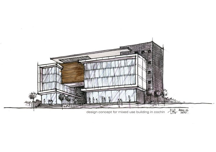 Mixed use building design concept1 atelier2 sketches for Modern office building design concepts