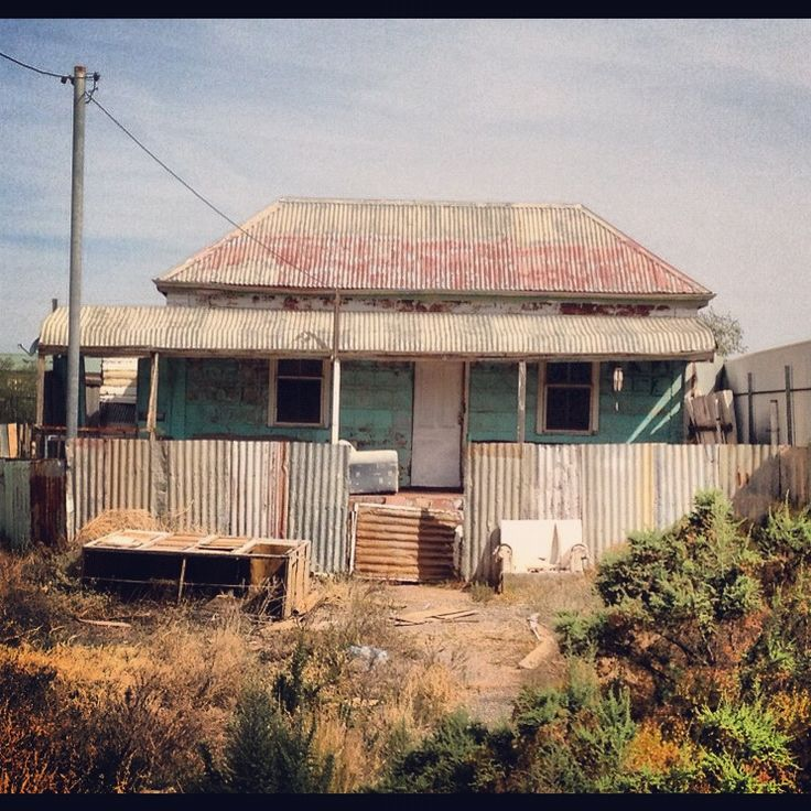 Rusty old iron house in Broken Hill, Australia.