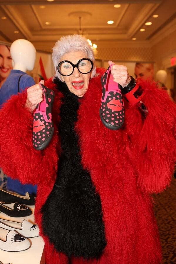 Our favorite #MBFW fashion icon spotted at #thefashionedit - Iris Apfel!