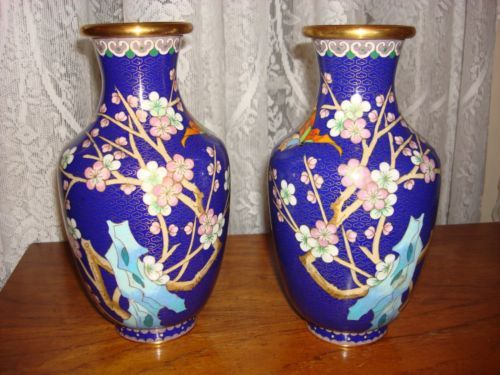 Vintage-Cloisonne-Vase-1-pair-9-inches-tall