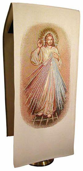 Paño de atril de Jesús Misericordioso / Merciful Jesus Lectern Cover http://www.articulosreligiososbrabander.es/pano-de-atril-del-misericordioso-con-doble-tela-y-forro.html