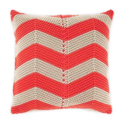 Chevron Cushion in Neon Coral 50cm