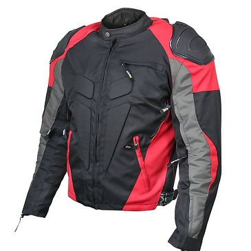 <b>Xelement CF626 Men's Black Armored Textile Race Jacket</b><br><br>The Xelement CF-626 Jacket features a high-tech armor system with its exterior panels and under-the-lining armor. Its 4 zippered vents provide maximum ventilation; its bright red panels maximum visibility. The two-level lining allows for riding in various weather conditions.