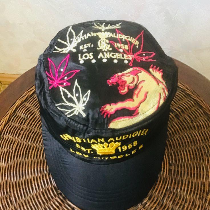 Black silk satin cap. Legendary designer cap with embroidery on tattoo Christian Audigier Ed hardy