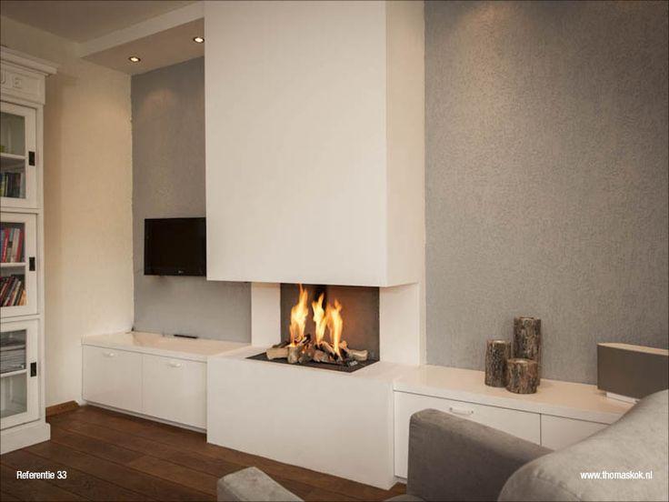 25 beste idee n over grijze open haard op pinterest for Decoratie naast tv