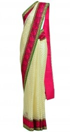 White sari with pink matha patti border
