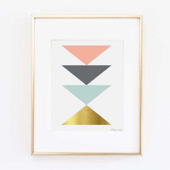 Geometric Triangle Printable Art | Office Decor | Nursery Art | Pink Gray Seafoam Gold Art | Printable Home Decor Art