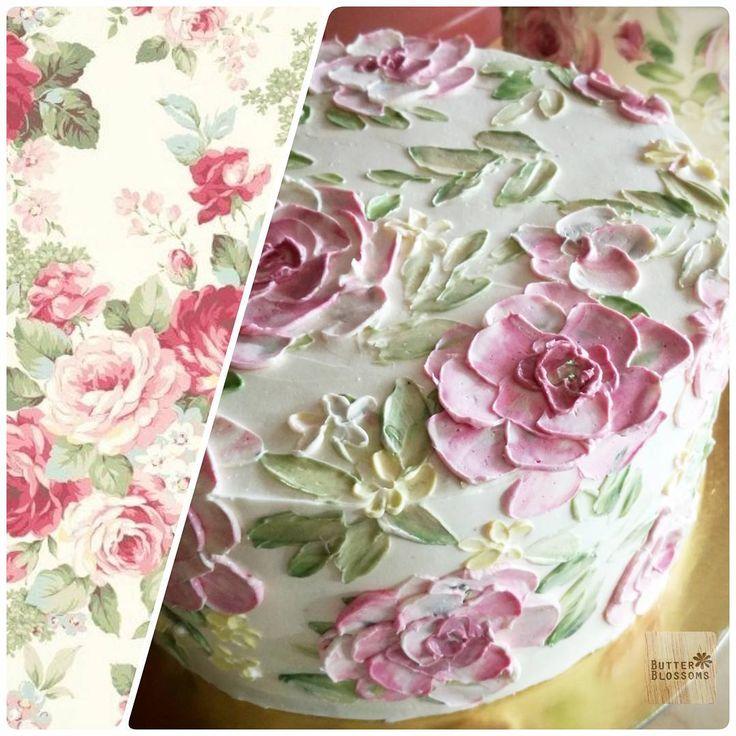 """ถูกใจ 1,072 คน, ความคิดเห็น 15 รายการ - Butter&Blossoms. (@butterblossoms) บน Instagram: """"Looking for inspiration. Feminine style for Vintage lady ,I think  Paint flowers on cake.…"""""""