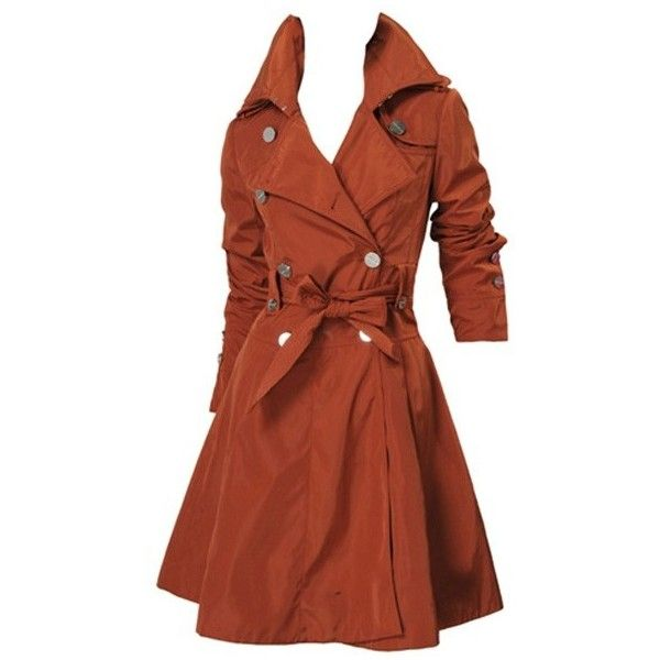 Trench Coat Dark Orange ($110) found on Polyvore