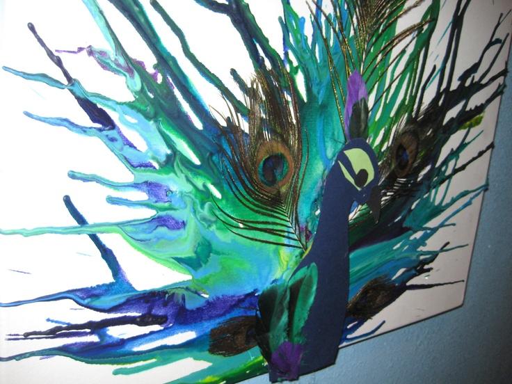 Peacock Melted Crayon Art. $50.00, via Etsy.