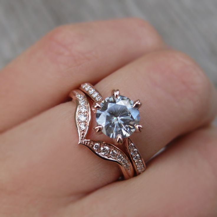 Grey Moissanite & Diamond Engagement Ring (1ct center)