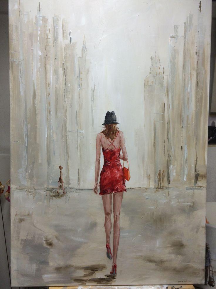 Hedendaagse kunst, vrolijk, stad, vrouwen, meisjes, figuratief, schilderij, New York, Parijs, Amsterdam, Rotterdam, schilderijen, rood, lichte kleur