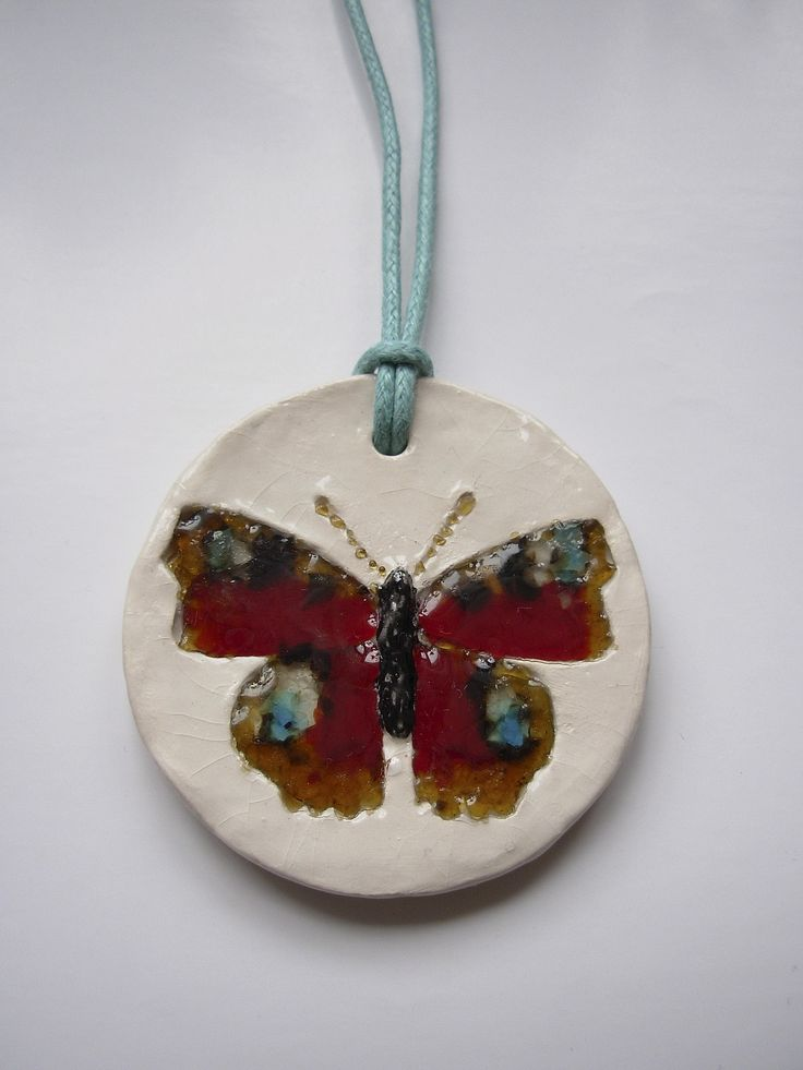 """The ceramic and glass pendant """"Peacock butterfly"""""""