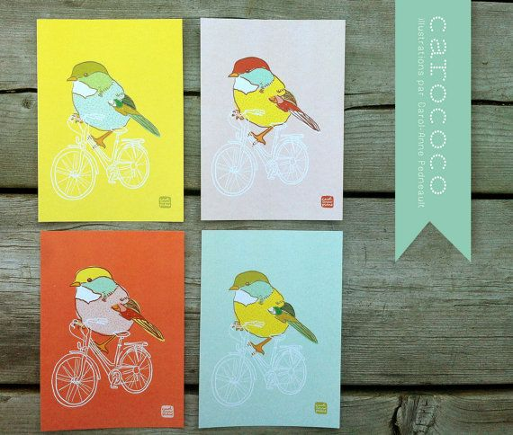 Hello Spring !!!! Carococo / postcard 4x5 / bird bicycle / by CarolAnne by caropedno, $3.50