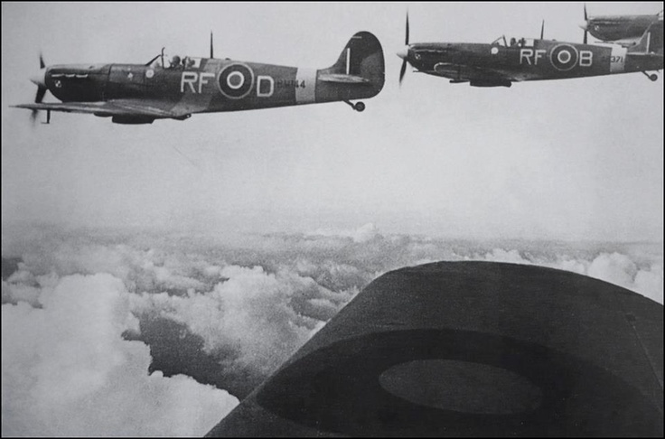 """Superb picture of Spitfires Mk Vb's of 303 Sqn enroute to Dieppe - 19 August 1942.  On left Spitfire Mk Vb RF*D - pilot Sq/ldr Jan """"Johnny"""" Zumbach  Photo: From the Sikorski's Institute"""