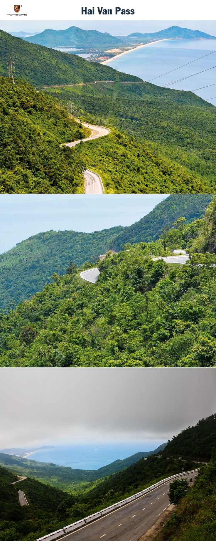 Hai Van Pass, Vietnam. Chasing the road on the South China Sea. Start: Bay of Vinh Kim Lien. Destination: Tien Sa. Driving time: Approx. 6 hours. Distance: Approx. 369 km (229 miles). Recommended travel time: March - November.   Learn more: http://link.porsche.com/gts/vietnam