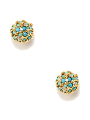 Estate Jewelry Estate Diamond & Turquoise Cluster Earrings
