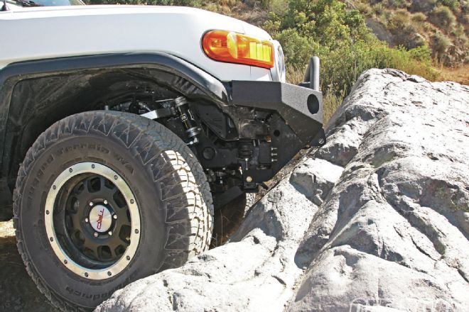 Our project Toyota FJ Cruiser benefits from DeMello Off-Road exterior protection, including their front bumper, rock sliders, and rear bumper and a skidplate from Bud Built. Check out these armor upgrades in Off-Road Magazine.