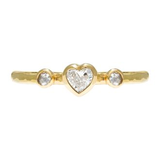 Beautiful & delicate ring with a 4mm central heart cut diamond and 2x 2mm rose cut diamonds on either side set in a 2mm fine hammered band in 18ct yellow gold by Sophie Harley.