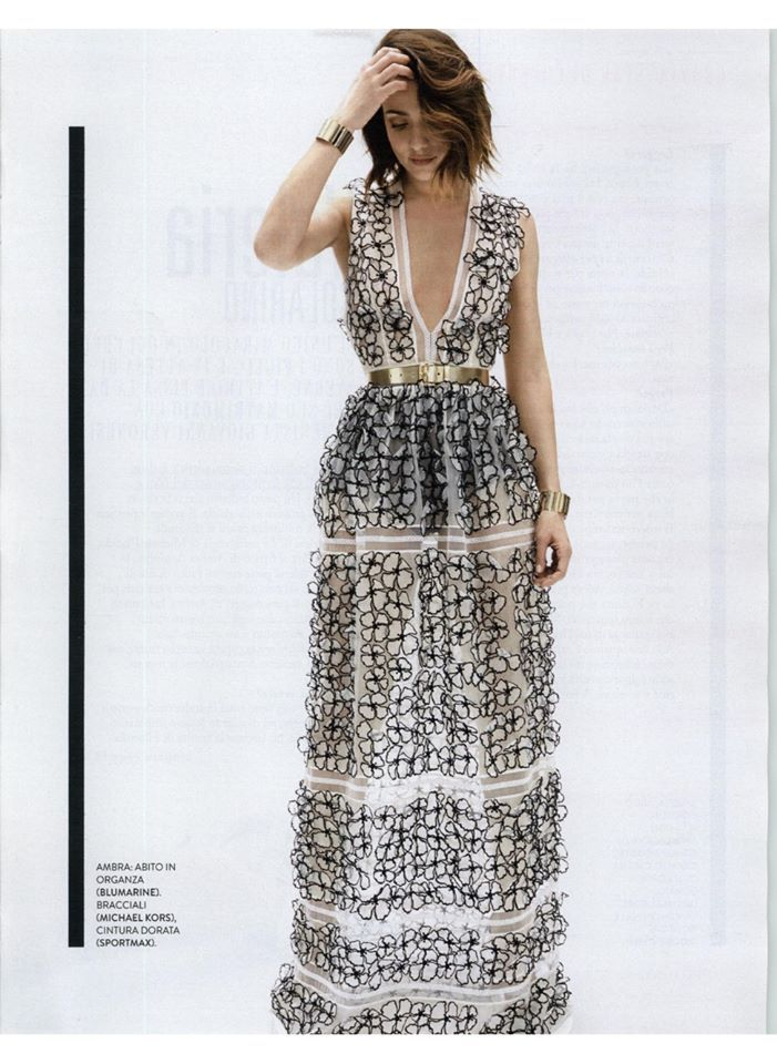 3D Flowers - Blumarine Spring Summer 2015 • Ambra Angiolini in a punge-neck silk organza gown with 3D effect flowers and lace trims. • GRAZIA, Italy - April 1, 2015