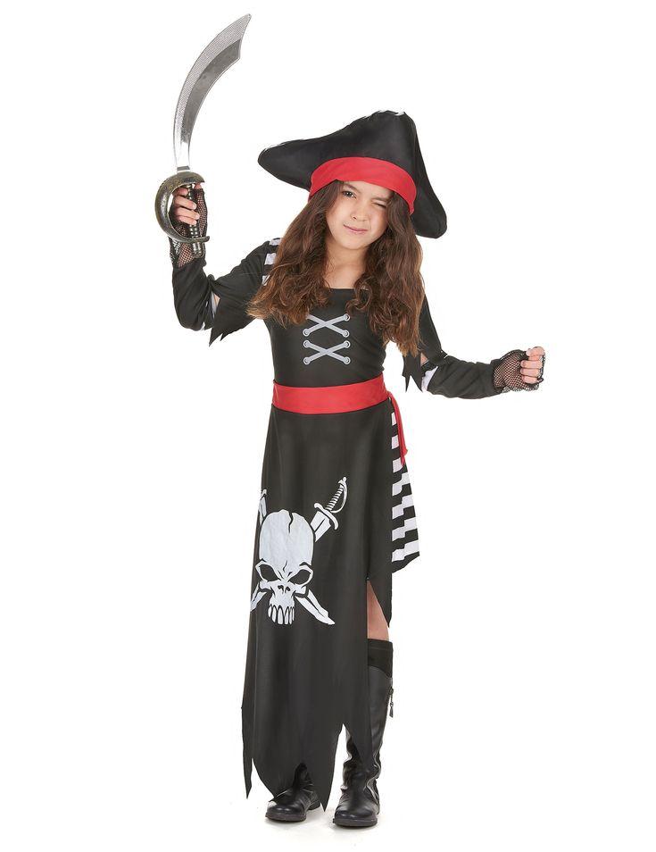 Deze piraten outfit voor meisjes zal perfect zijn als carnavalskleding of Halloween kostuum om een beruchte zeepiraat te worden! - Nu verkrijgbaar op Vegaoo.nl