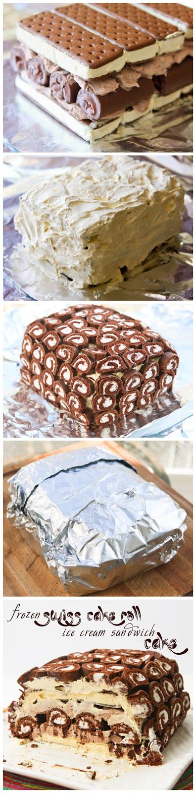 Frozen Swiss Cake Roll Ice Cream Sandwich Cake