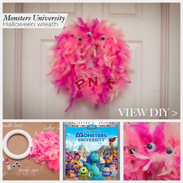 Monsters University Wreath by www.trinketsinbloom.com #MonstersU