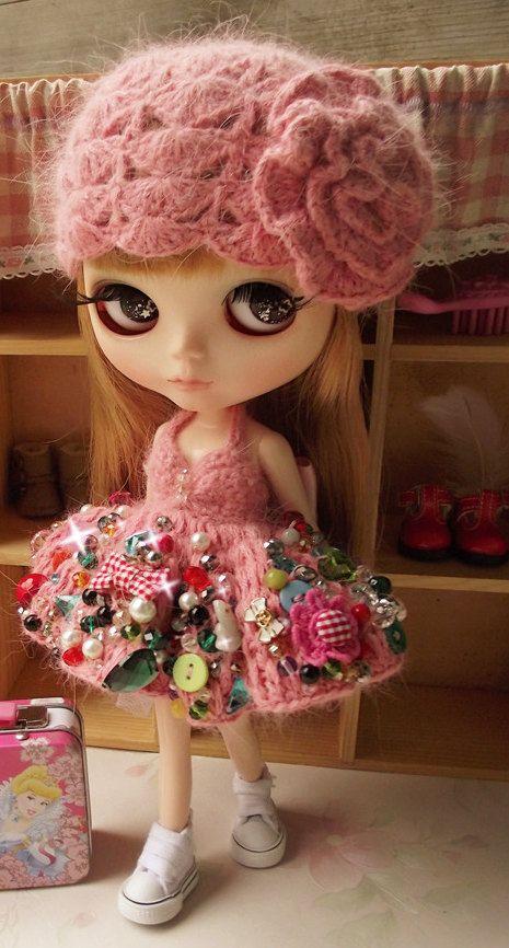 Heavy Work Sexy Pink Blythe Crochet Mink Yarn Dress With Hat   Doll Apparel   Blythe Clothes   Doll Dress