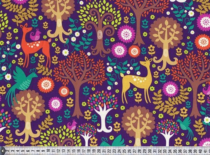 Michael Miller Stof med hjorte, Fantasy Forest in Purple, Norwegian Woods, pr. 0,25 m. - STOF og STUFF - kreativ livsstil | Stof, metervarer og tekstiler.