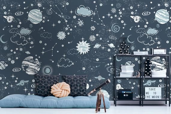 Kids Wallpaper Self Adhesive Peel And Stick Dark Space Wall Mural Removable Starry Sky And Blue Planets Wallpaper Kids Room Nursery Kids Room Wallpaper Kids Room Wall Murals Kids Room Murals