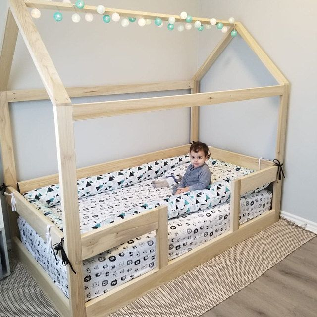 Twin House Bed Frame Mattress Slats Made In Us In 2020 Toddler House Bed Toddler Bed Frame Boy Room Bedding