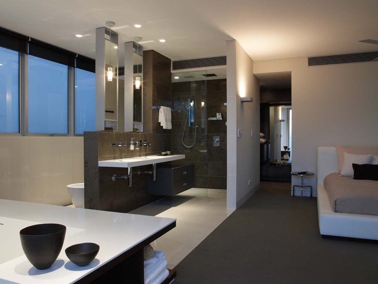 Open plan bathroom by Minosa Design. Features the ScoopED washbasin and the Rifra freestanding bath