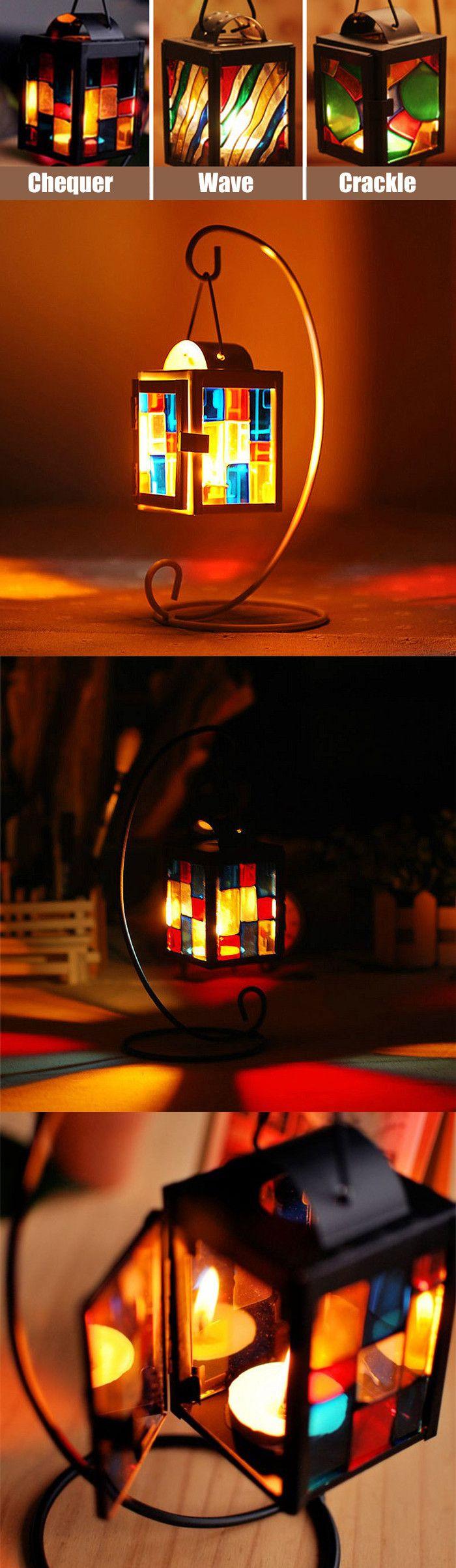 Retro Iron Candlestick Lantern Tea Light Holder Home Shop Ornaments