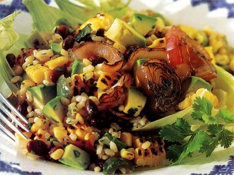 Grilled Corn Salad with Black Beans  Rice