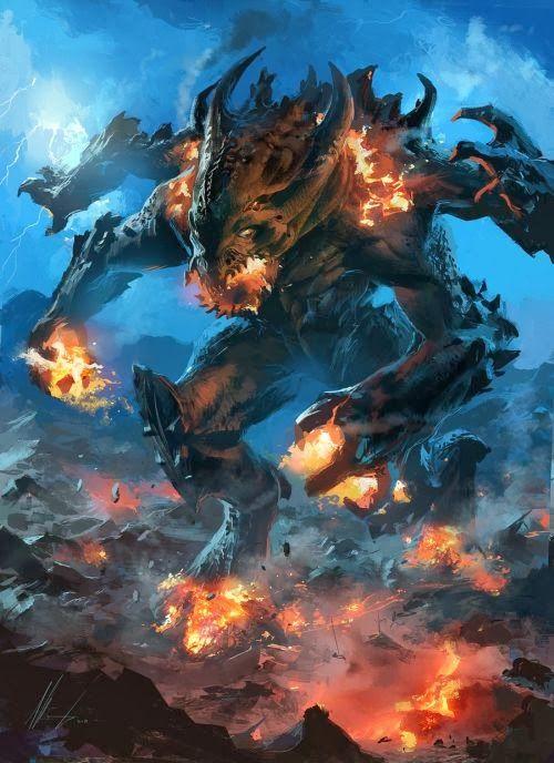 As fantásticas ilustrações de fantasia de Ignacio Bazán Lazcano - Colosso de lava e fogo