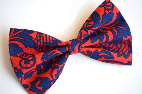 Blue and Red- Hair Bow, Fabric Hair Bows, Hair Bows for teens, Floral bow