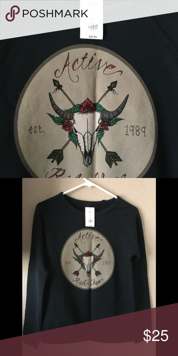 Active Rideshop Juniors/women's sweater Black, Size Small sweater with bull skull, crossbows, roses. Brand new with tags Active Ride Shop Sweaters Crew & Scoop Necks