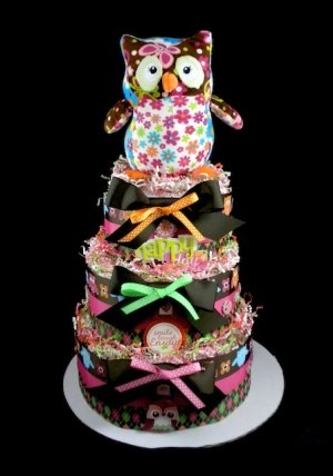 3 Tier Lifeu0027s A Hoot Girl Owl Diaper Cake Baby Shower Luxe Centerpiece Gift  Mary Meyer