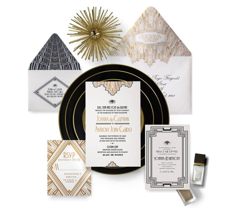 funny wedding invitation rsvp goes viral%0A Art Deco Wedding Invitation Suite  by Atelier Isabey