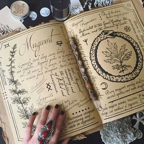 Herbal Grimoire #witch #herbs #crystals #pagan #cauldron #incense #witchcraft #magic #moon